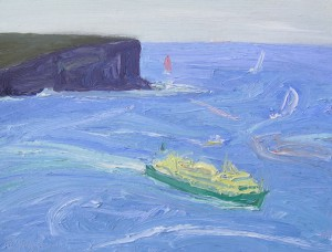 North head Manly ferry-Oil on oil paper-30cm by 39cm