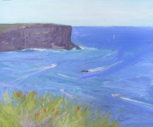 North head and Banksia ericifolia-Oil on oil paper-50cm by 61cm