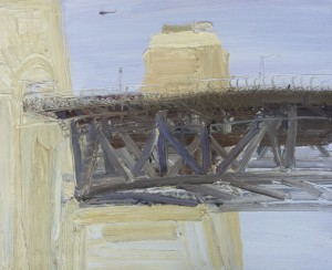 The Bridge and The Helicopter-Plein air-Oil on oil paper-49cm x 61cm(unframed)-David K Wiggs- 2016