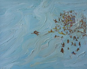 Lifesavers and crowd-Freshwater-Plein air-Oil on oil paper-75cm x 85cm Framed-David K Wiggs-2016