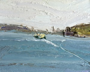 Manly ferry-To the city-Plein air-Oil on oil paper-45cm x 50cm framed-David K Wiggs-2016