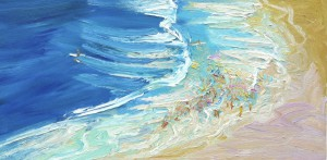 Rip and deep water-Freshwater-Oil on canvas-50cm x 100cm-David K Wiggs 1