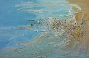 The crowd and the shepherds-Freshwater-Plein air-Oil on canvas-100cm x 150cm-David K Wiggs